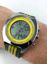 Watch BENETTON Chrono Alarm Ana Digi Steel New Old Stock Sport Military LED