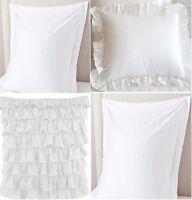 Pillow Sham Cover Solid White 750 TC Cotton With Hem Ruffle Edge Multi Ruffle