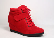 Women's High Top Fashion Round Toe Lace Up Wedge Sneaker Shoes Size 5 - 10 NEW