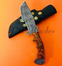 HNF CUSTOM HANDMADE DAMASCUS STEEL TRACKER  HUNTING KNIFE | RESIN HANDLE TK 6