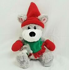 """New listing Commonwealth Chistmas Mouse Plush 12"""" Gray Red Elf Hat 2004 Stuffed Animal Toy"""
