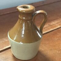 Vintage Small Mustard & Tan Glazed Pottery Handled Pitcher Jug – 4.75 inches