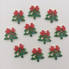 DIY 10pcs Resin hand painting Christmas tree Flatback Rhinestone Wedding buttons