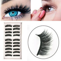 10 Pairs Triple Artificial False Eyelashes Extension Tools Lashes Makeup Beauty