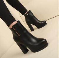 Womens Chunky High Heel Ankle Boots Pointed Toe Platform Casual Shoes