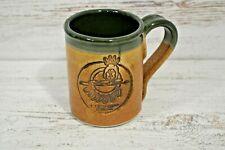 Cold Mountain Pottery Mug Handmade Art Pottery Green Brown