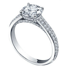 Wedding Engagement Ring White Gold Over 1.30 Ct Round Cut Diamond Solitaire