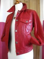 Size UK 10 12 Ladies LIZ CLAIBORNE red real leather short slimfit JACKET trucker