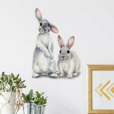 Two Cute rabbits Mural Children's kids room home decor removable Wall sticker