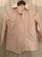 J. Crew Womens Button Down Shirt Size Medium Pink Stripes Long Sleeves Cotton