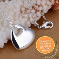 925 Sterling Silver Plated Cute Love Heart Hole Charm Pendant Statement Necklace
