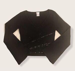 Deadstock 90's Y2K XOXO Black Sequin Flate Sleeve Sweater