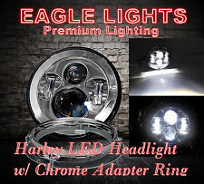 "Eagle Lights Harley Daymaker Chrome 7"" LED Headlight w/ Chrome Adapter Ring"