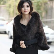 100% Real Genuine Knitted Mink Fur Fox Collar Cape/Shawl/Coat Free Size P0001