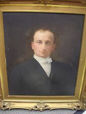 Early 1900s Henry Carling Oil Portrait of St. Paul man - Heavy Gilt Frame  As Is