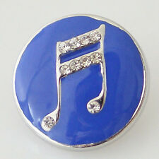 New Noosa Chunks Ginger Style Snap Button Charms Music Double Bar Note Blue 20mm