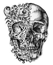 "4"" Skull Graffiti Street Art Sketch Black White Die Cut Sticker Laptop Bumper"