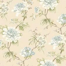 Wallpaper Large Cream White Blue Floral on Green Leaf Vine on Cream Faux