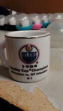 NHL STANLEY CUP CRAZY MINI MUG EDMONTON OILERS 1984 CHAMPS W/OPPONENT &SCORE