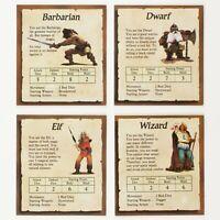 Set of 4 Character Cards | Original HeroQuest Parts