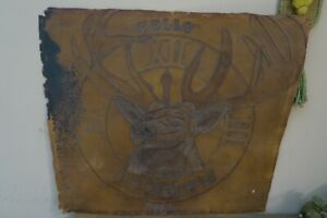 "Hand Tooled Leather Wall Art ~ Deer Stag - unframed 21"" x 23"""