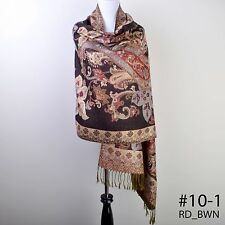 New Woman's Silk Blend Pashmina Wrap Shawl Scarf with Paisley Jacquard Scarves