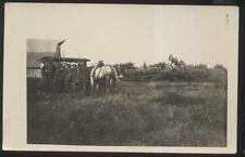 REAL PHOTO Postcard Farm Steam Tractor Powering Hay Bailer 1910's