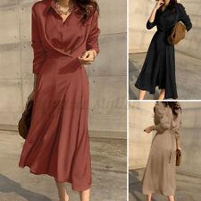 ZANZEA Mujeres Camisa de longitud completa Llamarada Swing Vestido plisado con cinturón vestido maxi largo