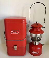 Vintage Coleman Red Metal Case With Lantern Model 200 & Instructions Etc.