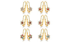 Sevil 6 Pack Set of 18K Gold Plated Flower Drop Earrings With Swarovski Elements