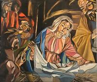 Stefania Battisti OLIO SU TELA CM 68 X 59  Madonna con bambino   nascita di Gesù