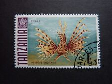 TANZANIA 1/- 'Lionfish' stamp used THEMATICS wildlife 'Pterois volitans'