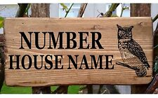 Door Sign Owl Plaque Plate Personalised Wooden Bungalow Cottage Porch House Name