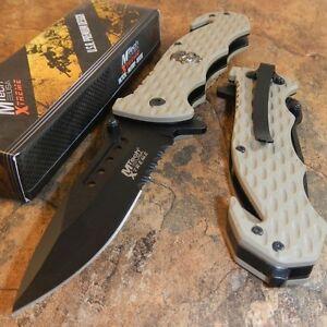 MTech Skull Medallion Tactical Blade Rescue Folding Pocket Knife TAN G10 Handle