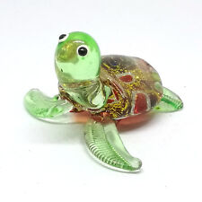 GLASS FIGURINE Brown Turtle Aquarium MINIATURE Handmade Art Collection