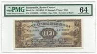 Guatemala Banco Central 1/2 Quetzal 1938 P13a UNC PMG 64 Rare Type Coffee Banana
