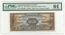Guatemala Banco Central 1/2 Quetzal 1933 P13a UNC PMG 64 Rare Type Coffe Banana