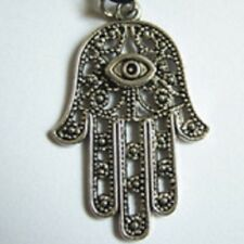 LARGE SILVER ALLOY HAND OF FATIMA WITH EYE CLIP ON CHARM/PENDANT- 42mm x 28mm
