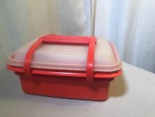 Vintage Tupperware Child's Lunch Box Set Complete Orange NICE Great Condition