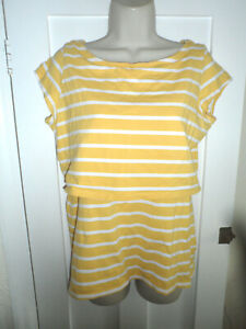 Size L   H&M Mama Nursing Top Maternity Yellow Striped Short Sleeves   Size L