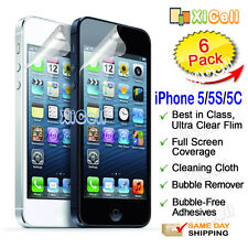 6pk  Apple iPhone 5 / 5S / 5C Screen Protector, ULTRA CLEAR PET Guard Film New