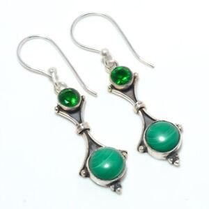 "Malachite & Emerald Quartz Gemstone 925 Sterling Silver Earring 1.76"" M153"