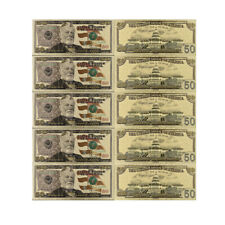 50 Dollar US Normal Money Collectible Colorful 24k Gold Banknote for Gifts 5pcs