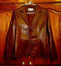 HENNES BY H & M BRWN LEATHER 2 TIE FT LEATHER JACKET BRAID TRIM SZ 8 EUR38/UK12