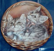 Cute Bradford Exchange Collectors Plate ANDREW AND ABBY Kitten BASKETS OF LOVE