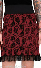 77388 Red Pixie Skirt Anatomical Hearts Switchblade Pattern Sourpuss Goth Large
