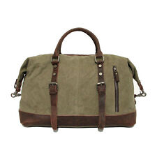 Men's Vintage Retro Genuine Leather canvas duffle weekend Bag Overnight luggage