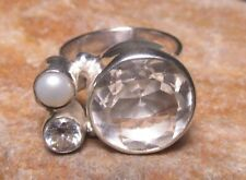 925 silver rock quartz/river pearl cocktail ring UK L½-¾/US 6.25