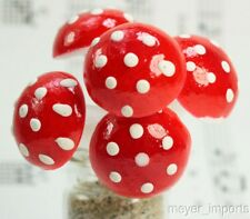 Spun Cotton Red Mushrooms - 10 pieces - Take and Make Kits