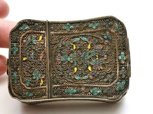 Early 20th Century Chinese Silver Enamel Filigree Vanity Compact Mirror Box
